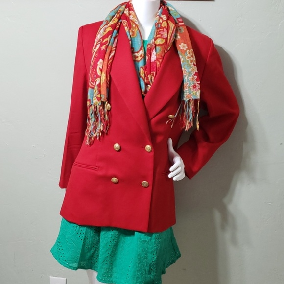 Pendleton Jackets & Blazers - PENDLETON red wool double breasted jacket